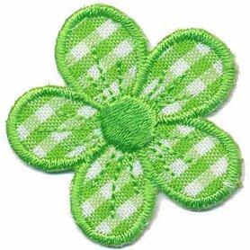 Applicatie geruite bloem licht groen 40 mm (10 stuks)