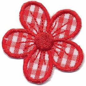 Applicatie geruite bloem rood 40 mm (10 stuks)