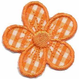 Applicatie geruite bloem oranje 40 mm (10 stuks)