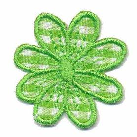 Applicatie geruite bloem licht groen 35 mm (10 stuks)