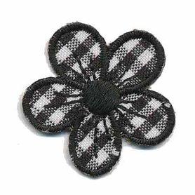 Applicatie geruite bloem zwart 30 mm (10 stuks)