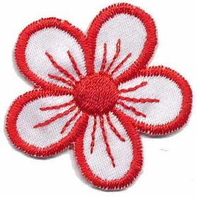 Applicatie bloem wit/rood (10 stuks)
