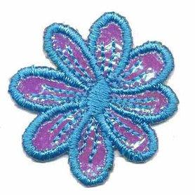 Applicatie glim bloem blauw 35 mm (10 stuks)