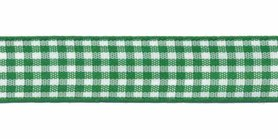Ruit band groen-wit 15 mm (ca. 45 m)
