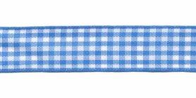 Ruit band blauw-wit 15 mm (ca. 45 m)