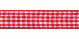 Ruit band rood-wit 15 mm (ca. 45 m)