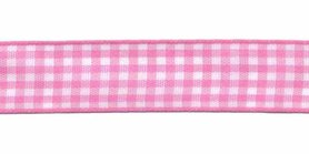Ruit band roze-wit 15 mm (ca. 45 m)