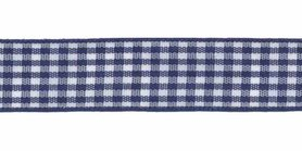 Ruit band donker blauw-wit 15 mm (ca. 45 m)