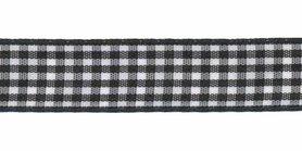 Ruit band zwart-wit 15 mm (ca. 45 m)