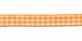 Ruit band oranje-wit 10 mm (ca. 45 m)