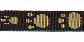 Tassenband 15 mm pootje bruin/zand (ca. 5 m)