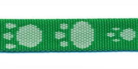 Tassenband 15 mm pootje groen/wit (ca. 5 m)