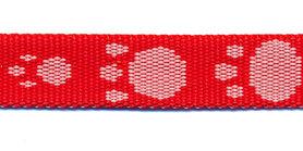 Tassenband 15 mm pootje rood/wit (ca. 5 m)