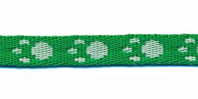 Tassenband 10 mm pootje groen/wit (ca. 5 m)