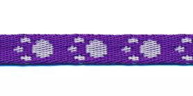 Tassenband 10 mm pootje paars/wit (ca. 5 m)