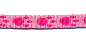 Tassenband 10 mm pootje licht roze/roze (ca. 5 m)