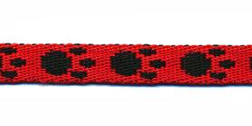 Tassenband 10 mm pootje rood/zwart (ca. 5 m)