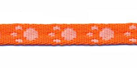 Tassenband 10 mm pootje oranje/wit (ca. 5 m)
