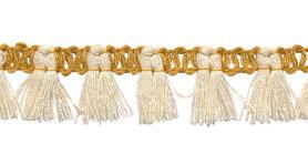 Band met kwastjes goudgeel-creme 15 mm (ca. 16 meter)