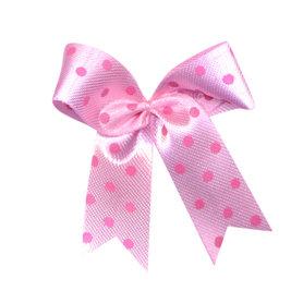 Satijnen strik roze met roze stip 40x45 mm (ca. 100 stuks)