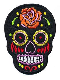 Opstrijkbare applicatie sugar skull zwart groot (5 stuks)