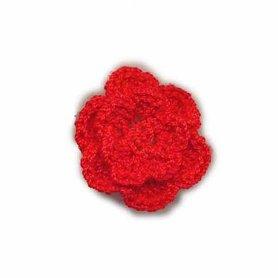 Gehaakt roosje rood 25 mm (10 stuks)