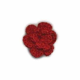 Gehaakt roosje bordeaux 25 mm (10 stuks)