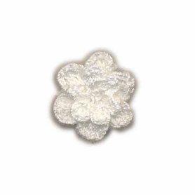 Gehaakt roosje gebroken wit 25 mm (10 stuks)