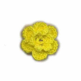 Gehaakt roosje geel 25 mm (10 stuks)