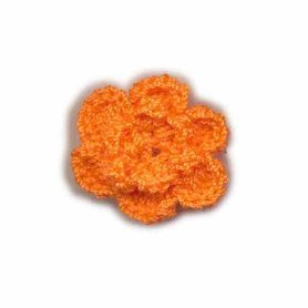 Gehaakt roosje oranje 25 mm (10 stuks)