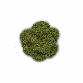 Gehaakt roosje donker groen 25 mm (10 stuks)