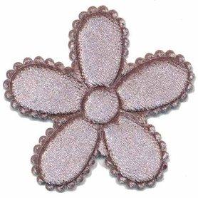 Applicatie bloem grijs fluweel groot 45 mm (ca. 100 stuks)