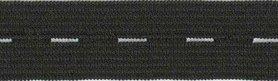 Zwart knoopsgatenelastiek 20 mm (rol van ca. 30 m)