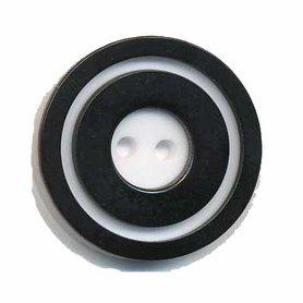 Knoop 'donut' groot zwart 25 mm (ca. 25 stuks)