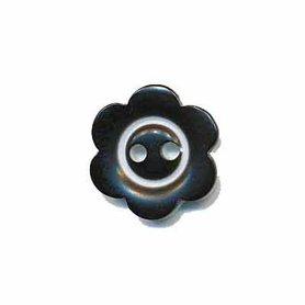 Bloemknoop met rand zwart 15 mm (ca. 50 stuks)