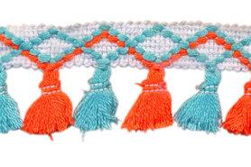Band met kwastjes wit-oranje-blauw 45 mm (ca. 10 meter)