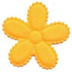 Applicatie bloem NEON oranje vilt groot 45 mm (ca. 100 stuks)