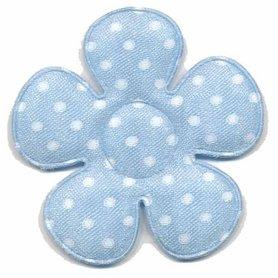 Applicatie bloem licht blauw met witte stippen satijn groot 45 mm (ca. 100 stuks)