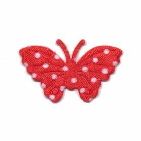 Applicatie vlinder rood met witte stippen satijn middel 40 x 25 mm  (ca. 100 stuks)