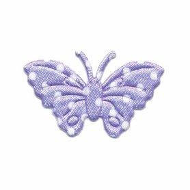 Applicatie vlinder lila met witte stippen satijn middel 40 x 25 mm (ca. 100 stuks)