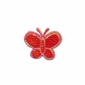 Applicatie glim vlinder rood klein 20 x 20 mm (ca. 100 stuks)