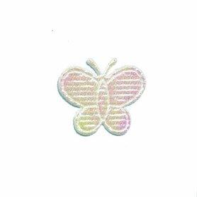 Applicatie glim vlinder wit klein 20 x 20 mm (ca. 100 stuks)