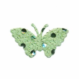 Applicatie glitter vlinder groen middel 40 x 25 mm (ca. 100 stuks)