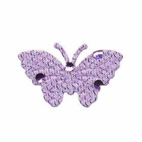 Applicatie glitter vlinder lila middel 40 x 25 mm (ca. 100 stuks)