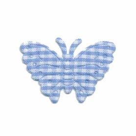 Applicatie geruite vlinder licht blauw-wit middel 40 x 25 mm (ca. 100 stuks)