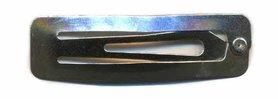 Klik-klak haarknipje rechthoekig zilver 4,5 cm  (ca. 20 stuks)
