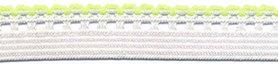 Wit-gif groen elastiek met sierrand 12 mm (ca. 10 meter)