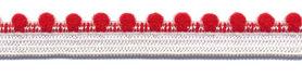 Wit-rood elastiek met bolletjes sierrand 12 mm (ca. 10 meter)
