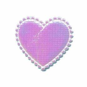 Applicatie glim hart wit/roze middel 35 x 30 mm (ca. 100 stuks)