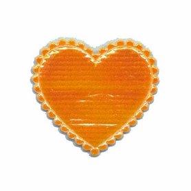 Applicatie glim hart oranje middel 35 x 30 mm (ca. 100 stuks)